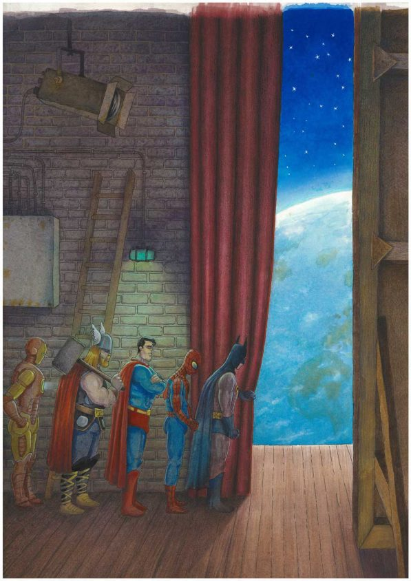 jean-martial-dubois_illustration_aquarelle_paris__dreamlike_coulisse_theatre_super_heros-art05