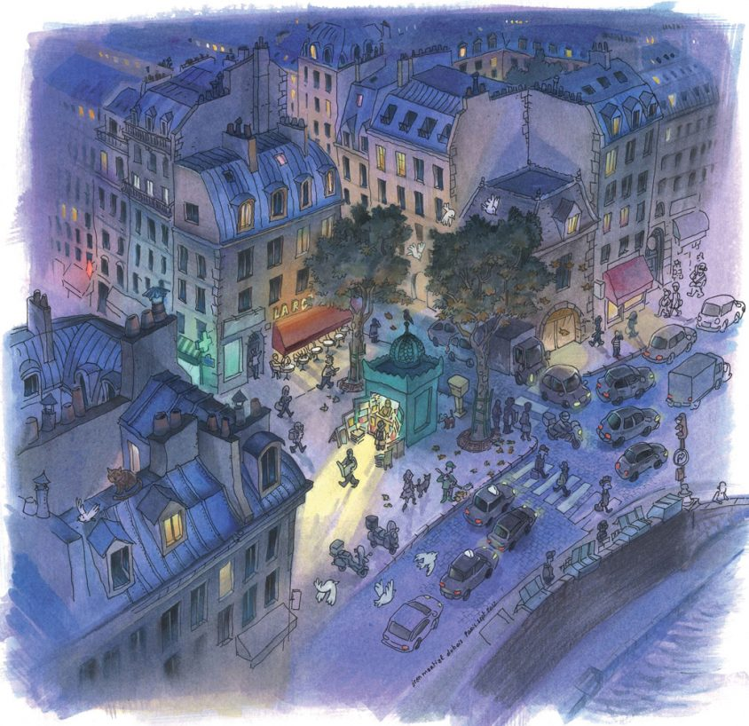 jean-martial-dubois_illustration_aquarelle_paris_nuit_roof_night-art03