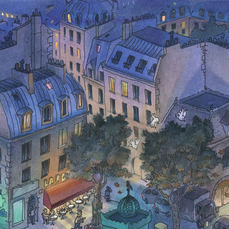 jean-martial-dubois_illustration_aquarelle_paris_nuit_roof_night-art03a